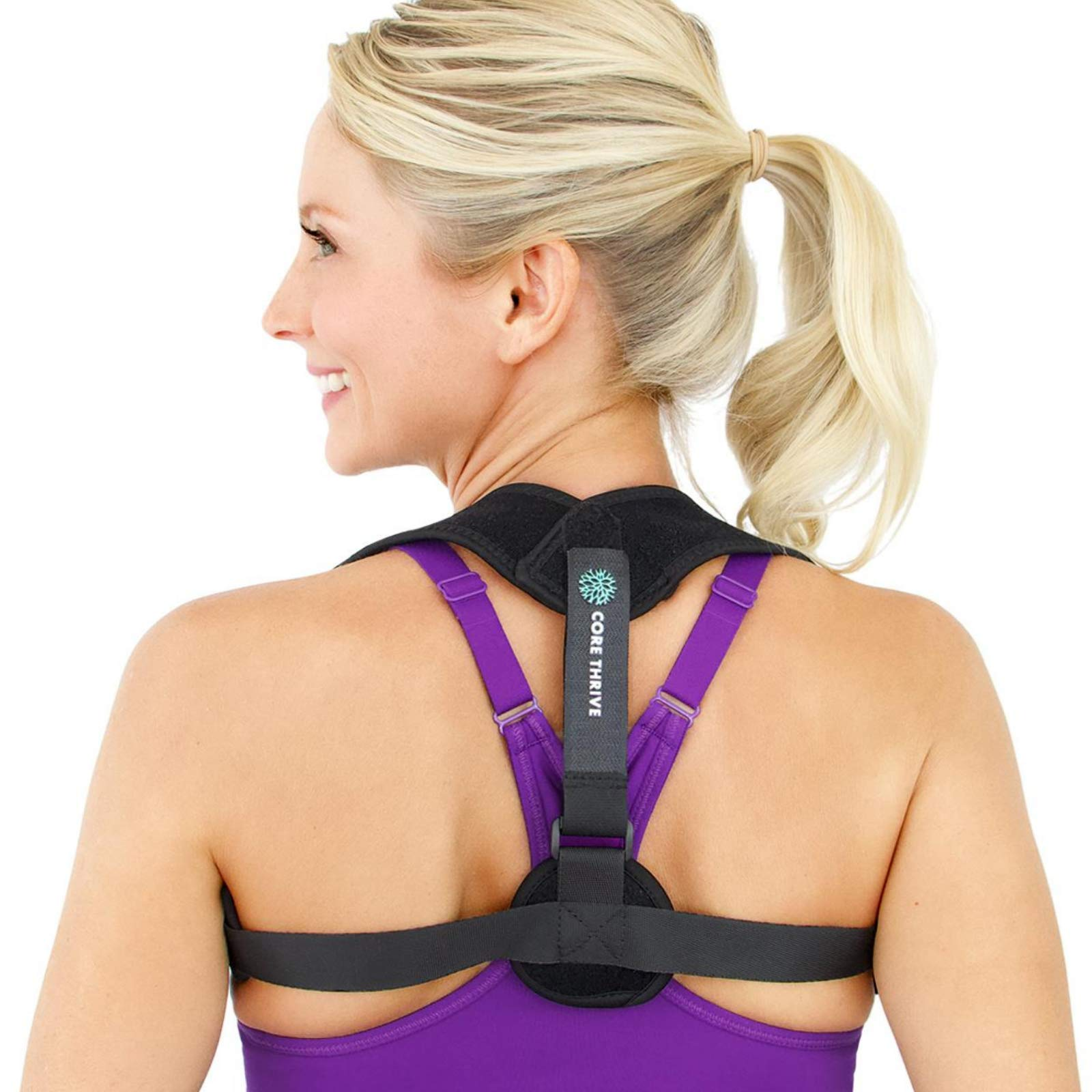 Core Thrive Posture Brace for Women & Men - Comfortable and Easy to Use Upper Back Posture Corrector for Thoracic Kyphosis, Scoliosis, and Neck Pain Relief - Improve Posture and Align Your Spine