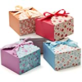 Hayley Cherie - Gift Treat Boxes with Ribbons (20 Pack) - Thick 400gsm Card - 5.8 x 5.8 x 3.7 Inches - Use for Cakes, Cookies