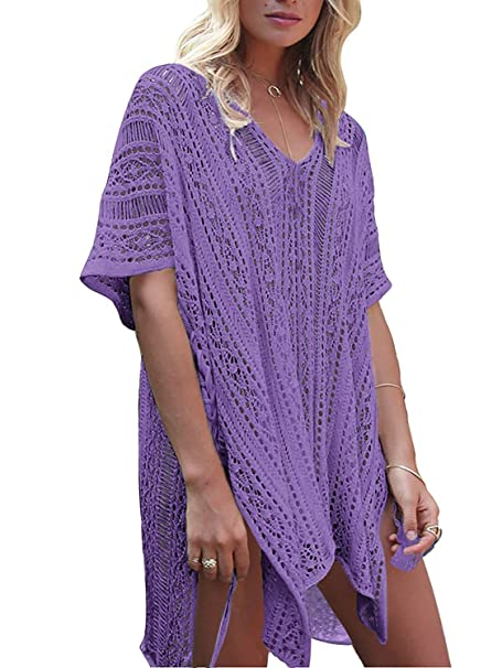 cc34cb47e5 Garsumiss Women Chiffon Tassel Swimsuit Cover up Beach Bikini Stylish Bathing  Suit (One Size, Crochet Purple) at Amazon Women's Clothing store: