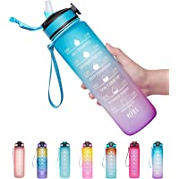 Giotto 32oz Leakproof BPA Free Drinking Water Bottle with Time Marker & Straw to Ensure You Drink Enough Water…