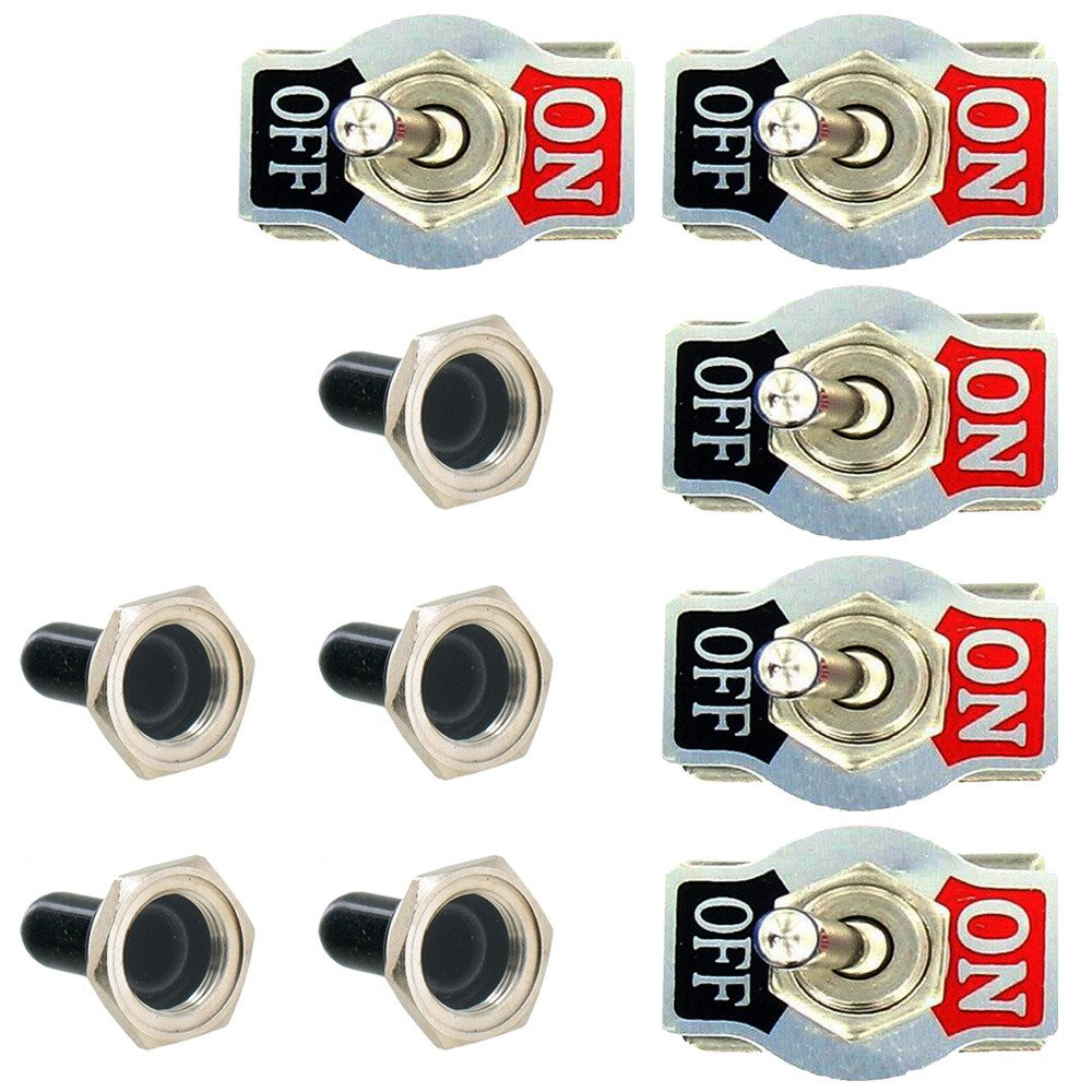 ON ON //OFF// Etopars 5 X Heavy Duty 20A 125V 15A 250V SPDT 3 Terminal Pin Momentary Rocker Toggle Switch Flick Metal Waterproof Cap Knob