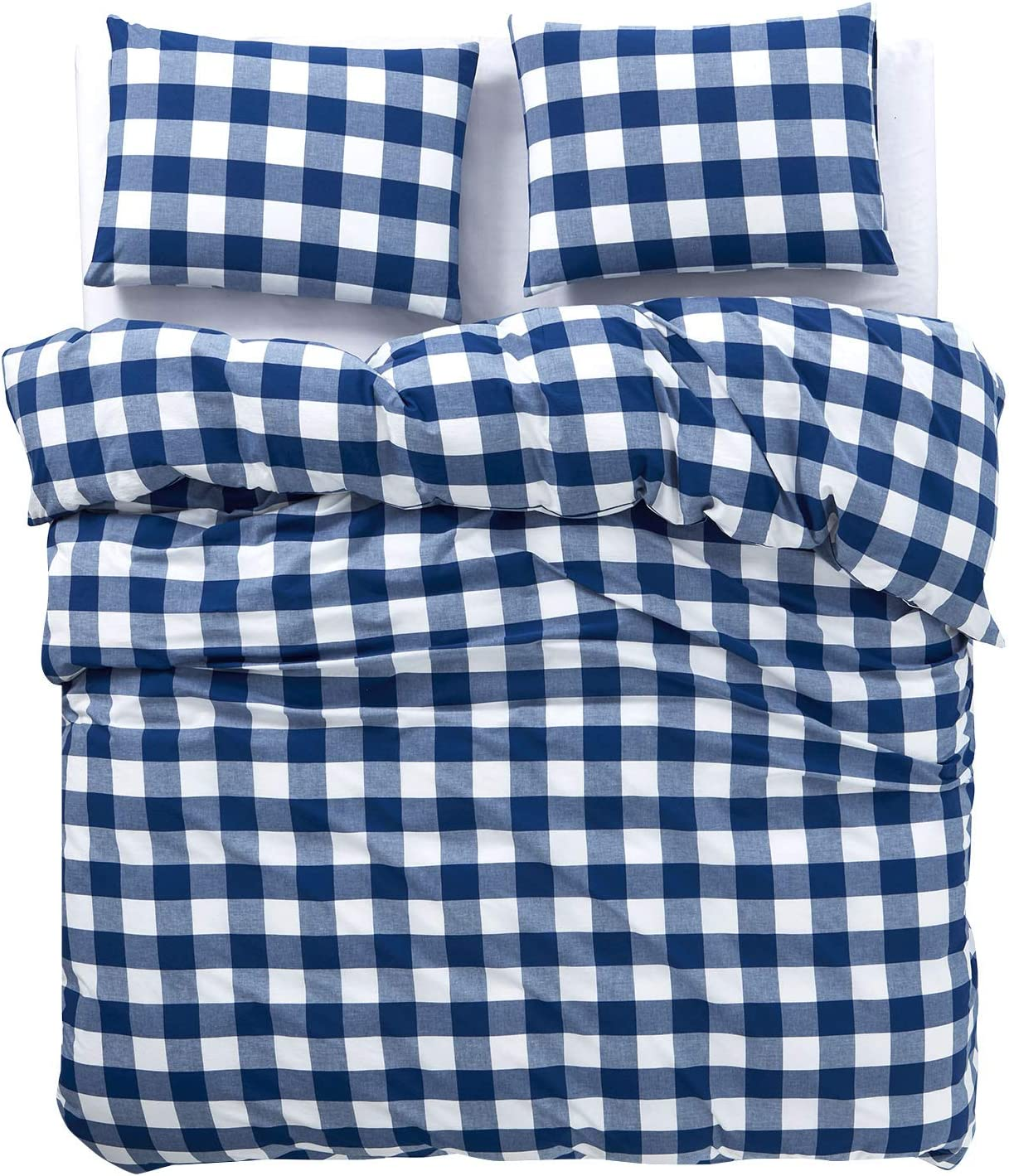 Wake In Cloud Plaid Duvet Cover Set 3pcs, Twin Size Buffalo Check Gingham Geometric Checker Printed in White Black and Gray 100/% Washed Cotton Bedding with Zipper Closure
