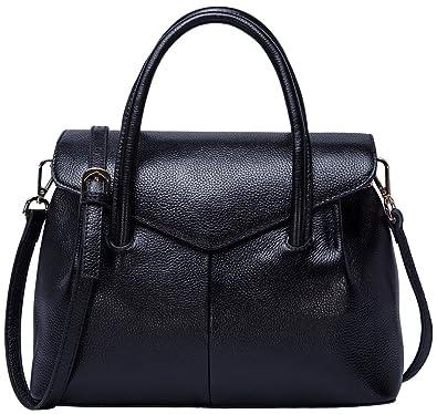 2f4cd9b4d8a9 Amazon.com  BOYATU Real Leather Handbag for Women Elegant Business Satchel  Top Handle Bag (Black)  Shoes