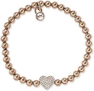 Michael Kors Women's Stainless Steel Beaded Pave Heart Bracelet - MKJ3015710