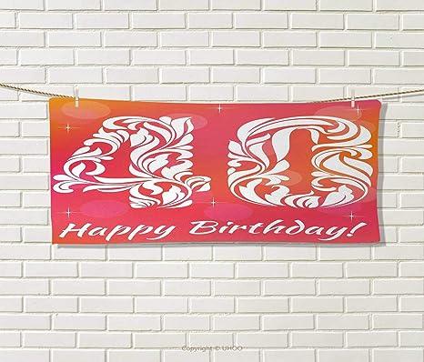 Anniutwo - Toalla de 40 cumpleaños, diseño de Nubes en el Cielo Azul, impresión