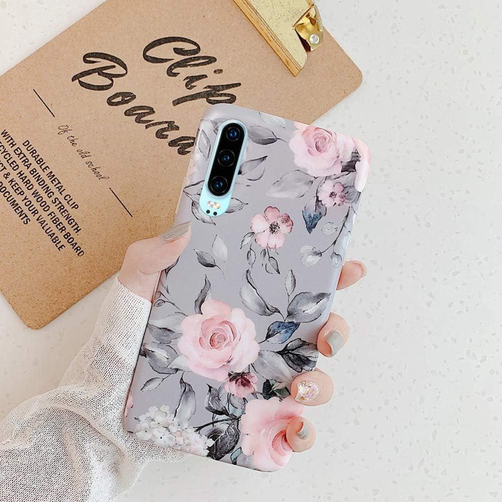 Kompatibel mit Huawei P30 H/ülle,Handyh/ülle Huawei P30 Case Blumen Bl/ätter Ultrad/ünn TPU Silikon H/ülle Schutzh/ülle Weiche Crystal Clear Silikon Bumper R/ückschale Case Cover,Grau