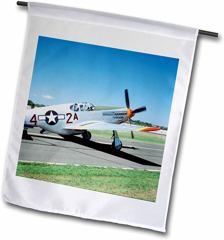 3dRose fl_91302_1 P-51C Tuskegee Airmen Red Tail War Plane-Us24 Bfr0079-Bernard Friel Garden Flag, 12 by 18-Inch