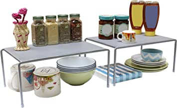 DecoBros Expandable Stackable Kitchen Cabinet and Counter Shelf  Organizer,Silver