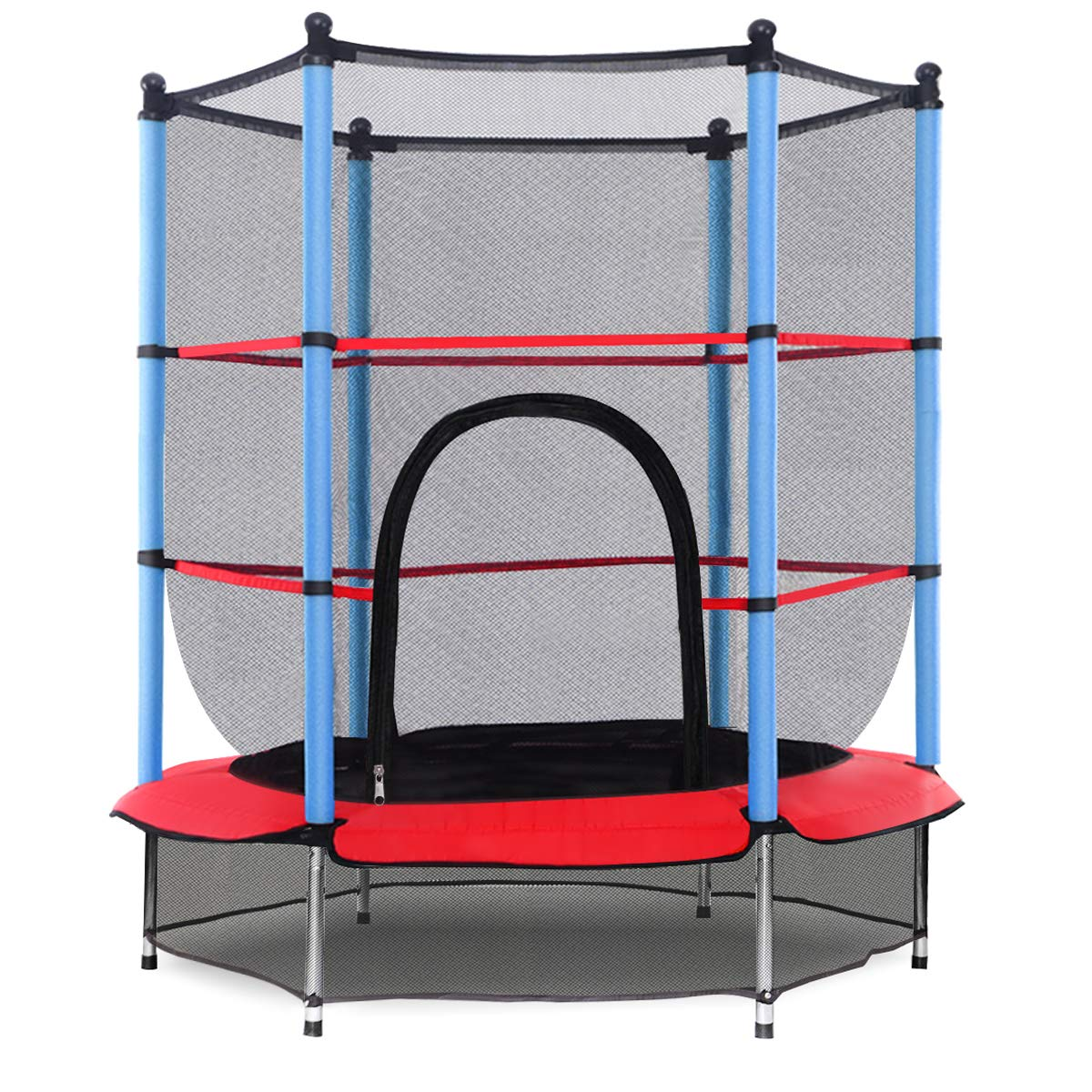 Giantex 55'' Round Kids Mini Jumping Trampoline W/Safety Pad Enclosure Combo (Multicolor) (Black+Blue+Red) by Giantex