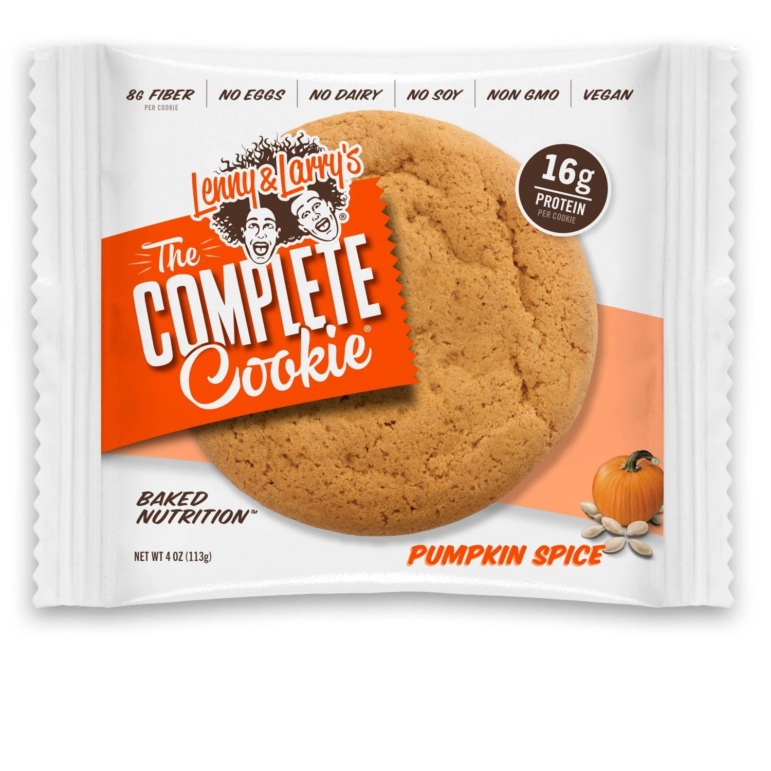 Lenny & Larry's The Complete Cookie, Pumpkin Spice, Soft Baked,  16g Plant Protein, Vegan,  4-Ounce Cookies (Pack of 12)