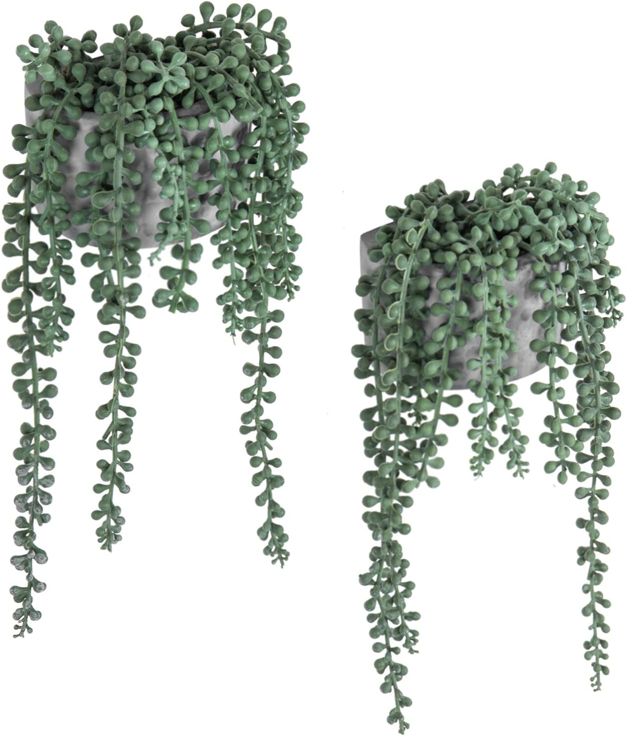 MyGift Artificial String of Pearls Plants in Wall-Hanging Gray Cement Planters, Set of 2