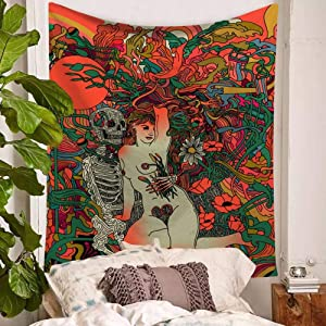 Tapestry Wall Hanging,Hippie Psychedelic Large Rectangular Print Fabric Tapestries,Retro Abstract People Skeleton Naked Woman Character,Indian Art Print Mural,For Bedroom Living Room Dorm Home Decor
