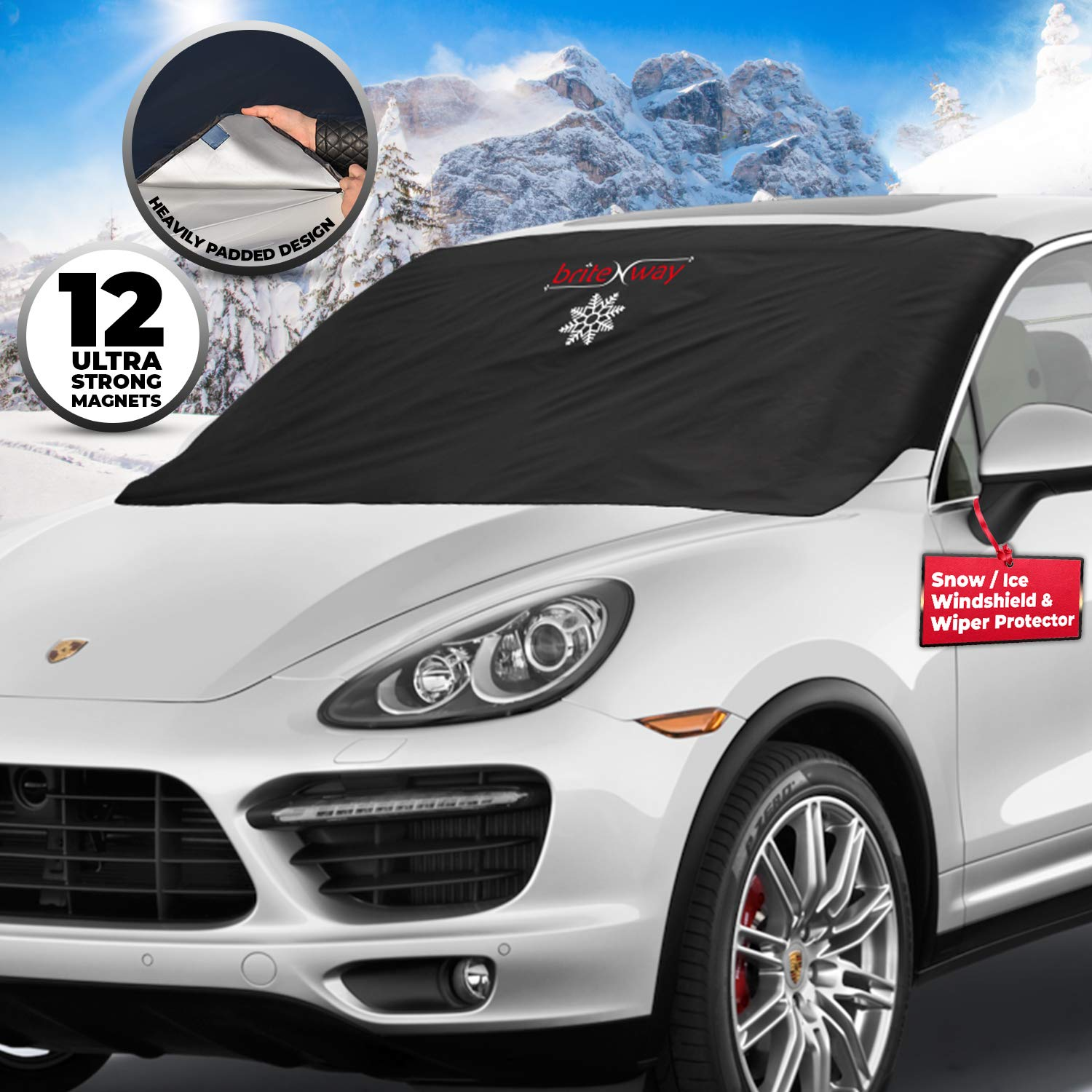 Windscreen Snow Cover - Auto Ice Wiper Protector - Non Scratch Magnetic - Sturdy - Heavy Duty Material - 127 x 157 cm - Keep your Vehicle Exterior Clean and Freeze Free - Car-Van - SUV briteNway BRTN00110