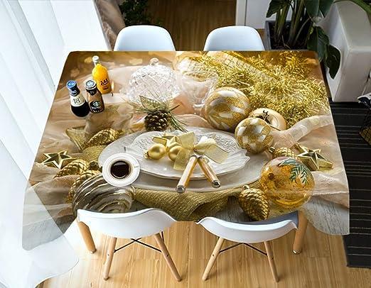 S-vision Manteles Bolas De Navidad De Oro Cocina Mesa De Comedor ...
