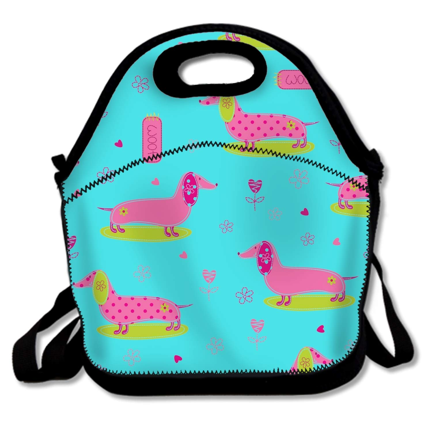 Cute Pink Dogs Cooler Lunch Bag Outdoor Picnic Bag