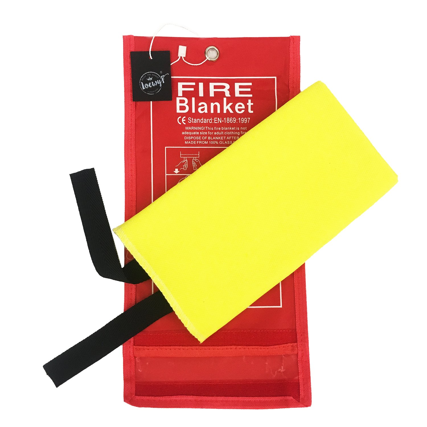 LOEWYF Glassfiber Base Fabric with Yellow Silica Coating Emergency Survival Fire Blanket