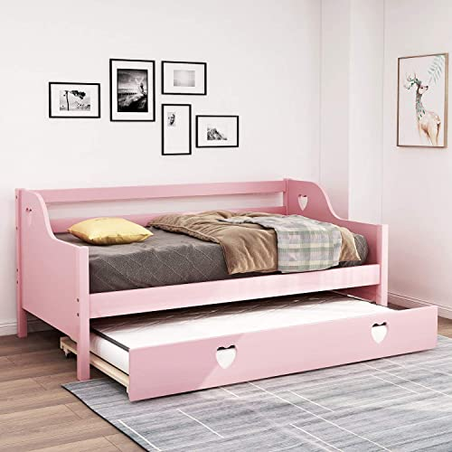 Daybed with Trundle, Rockjame Premium Twin Bed Frame for Kids, Hollowed Out Heart Shaped, Strong Solid Wood Slat Support, Easy Assembly, No Box Spring Needed Pink