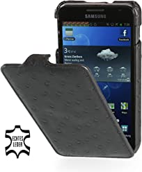 StilGut UltraSlim Case, custodia in pelle per Samsung Galaxy Note 1 N7000, nero - struzzo