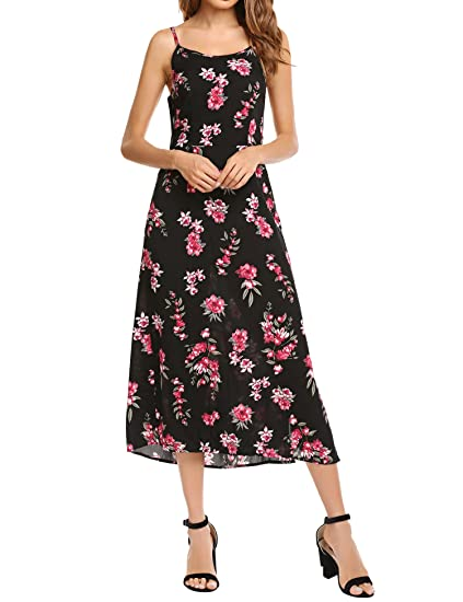 519b13bc5c20 Zeagoo Women Sexy Sleeveless Floral Print V Neck Backless Chiffon Maxi Dress  (Small