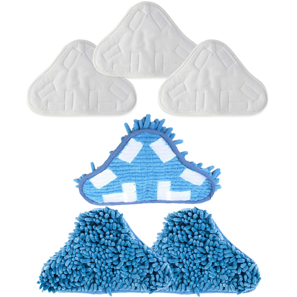 Mumaxun Compatible for Microfiber & Washable Mop Head Pads H2O H20 Steam Mop X5 (Size 9.8'' x 7.09''/ 250mm x 180mm)-(6pcs = 3 x Microfibre Pads + 3 x Coral Microfibre Pads)