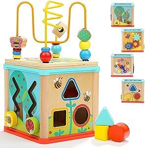 TOP BRIGHT Cubo de Actividades 5 en 1 - Centro de Actividad de Madera para Bebés y Niños de 1, 2 años de Edad - Centro Educativo - Laberinto, Engranajes y Bloques - Juguete Divertido para Niños Niñas