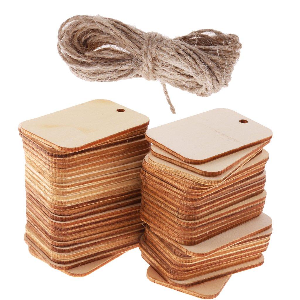 MagiDeal 50/Piezas Rectangular de Madera Craft Forma Etiqueta Adornos para Manualidades con Cuerda