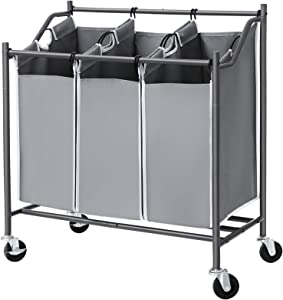 SONGMICS 3-Bag Laundry Cart Sorter, Rolling Laundry Basket Hamper, with 3 Removable Bags, Casters and Brakes, Gray URLS70GS