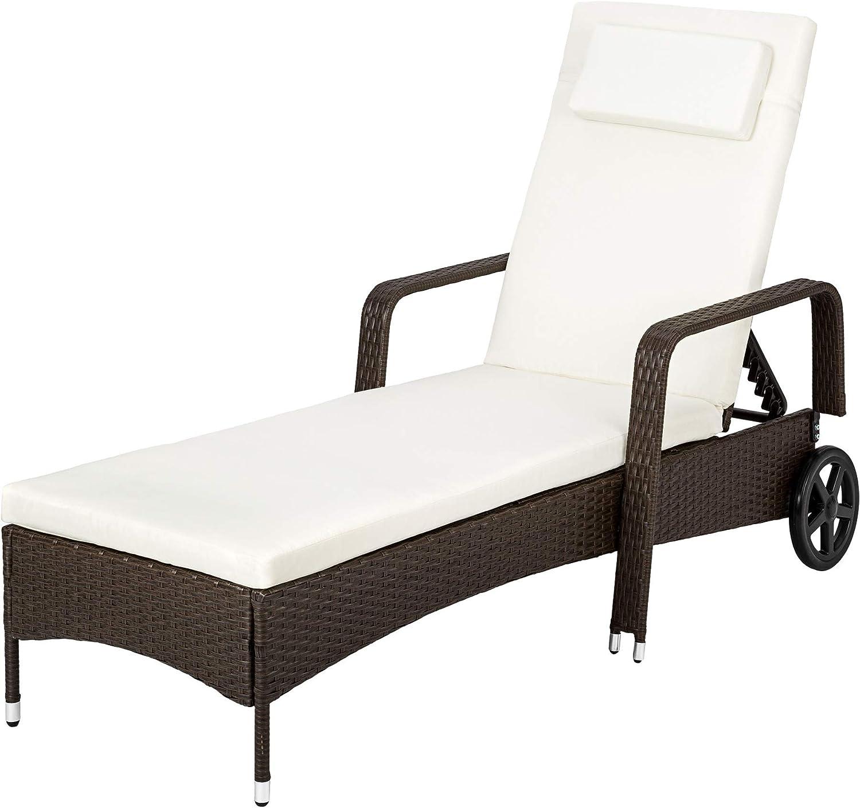 TecTake Tumbona chaise longue de poli ratán tumbona de jardín silla de terraza - disponible en diferentes colores - (Marrón antigüedad)