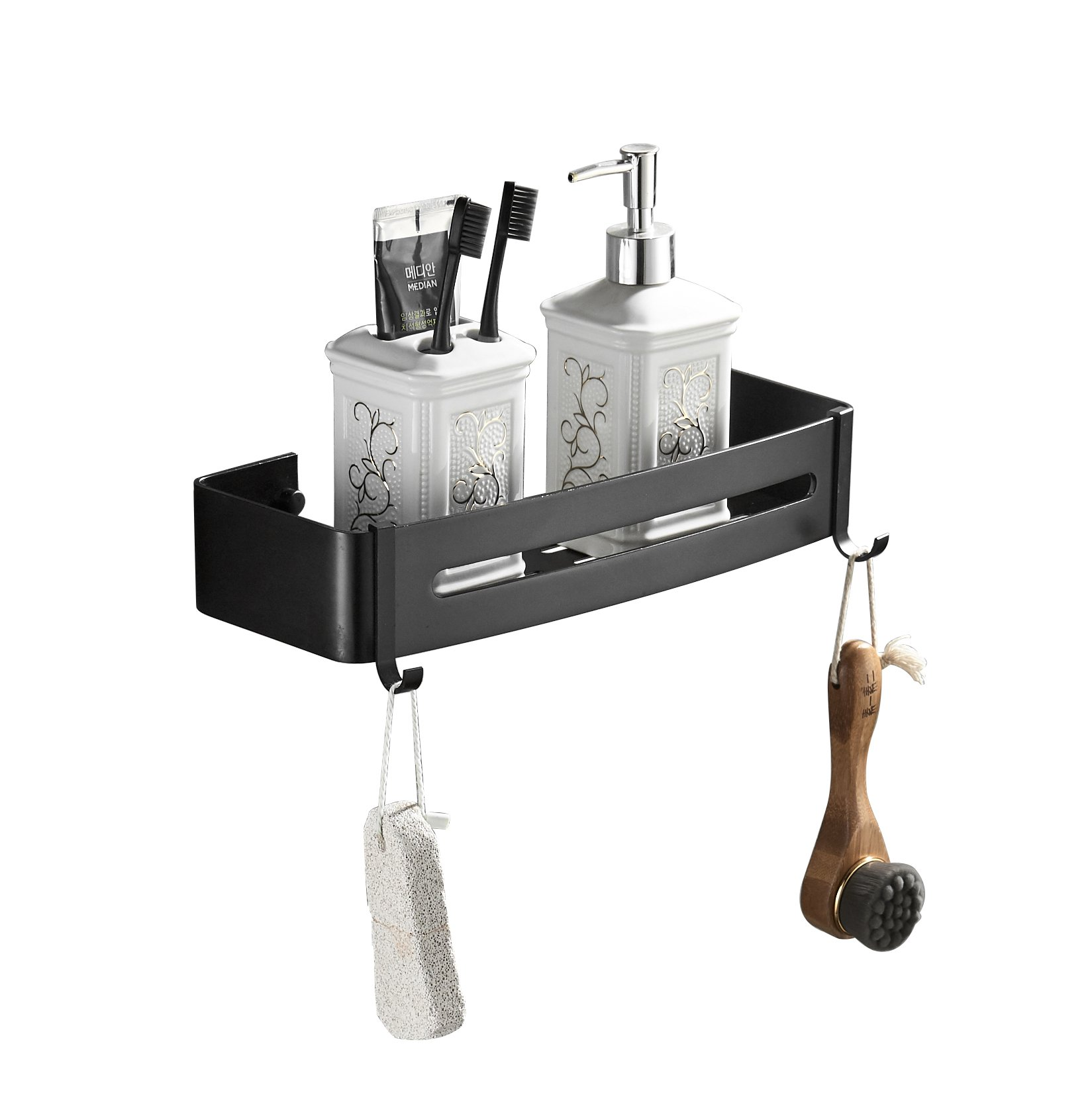 XOGOLO Black Bathroom Shower Shelf Rectangular Wall Shower Caddy Space Aluminum 6062-3