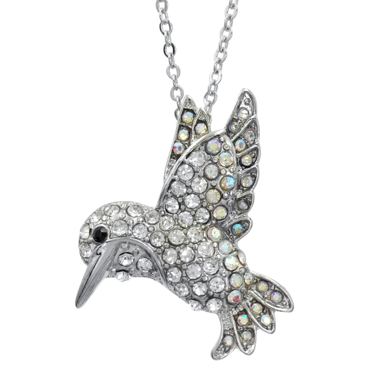 Dainty AB Rhinestone Hummingbird Silver Tone Small Necklace