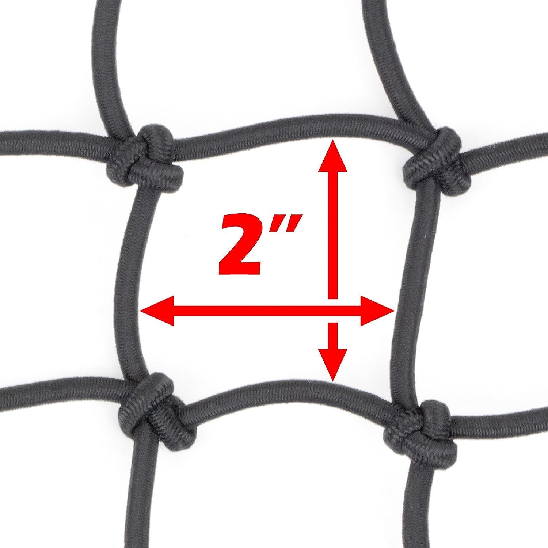 Powertye 15x30 Mfg Large Cargo Net featuring 10 Adjustable Hooks /& Tight 2x2 Mesh Black