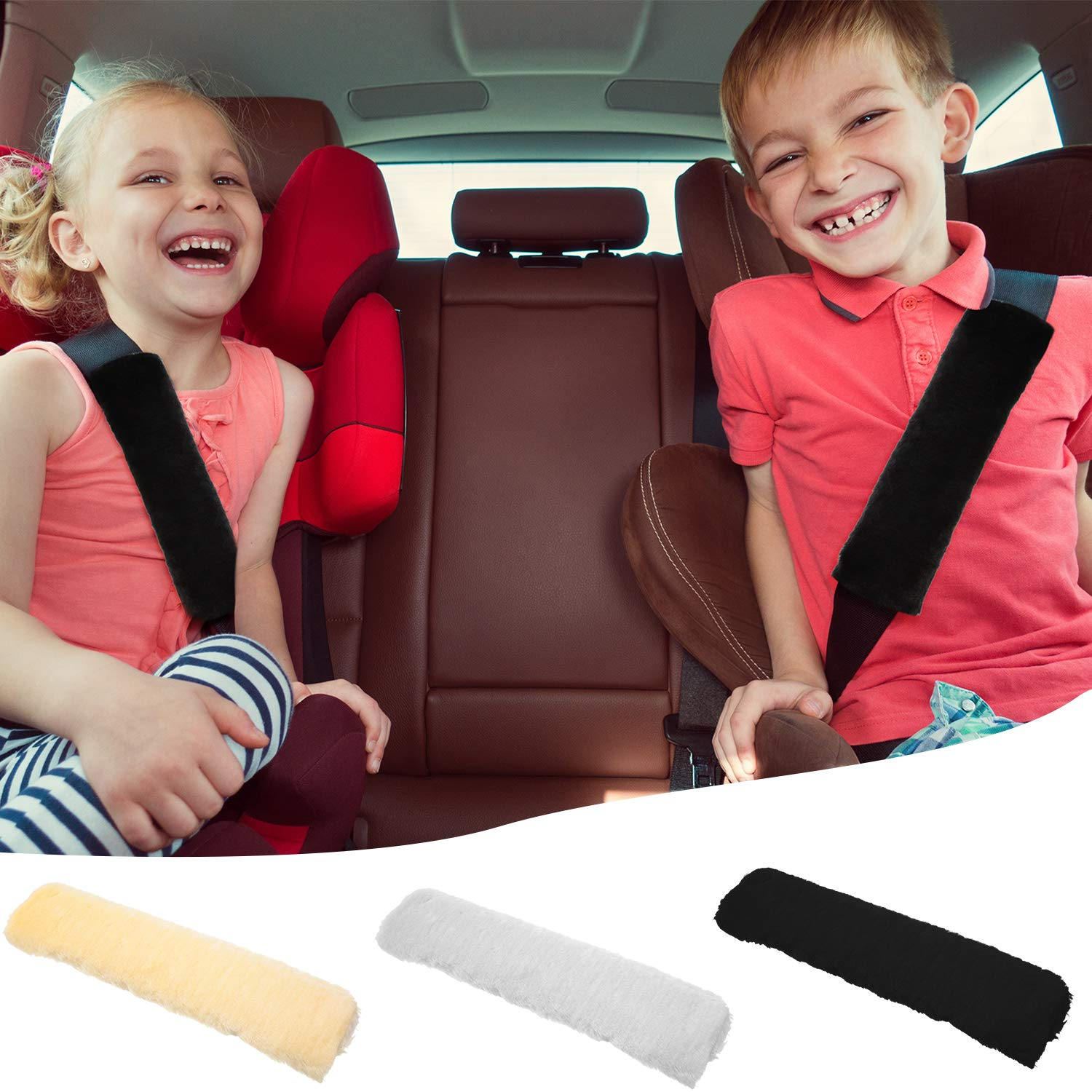 3 Colors 6 Pieces Seat Belt Shoulder Pad Car Strap Covers Faux Sheepskin Seatbelt Pad Soft Seat Belt Cushion for Car Airplane Backpack Supplies