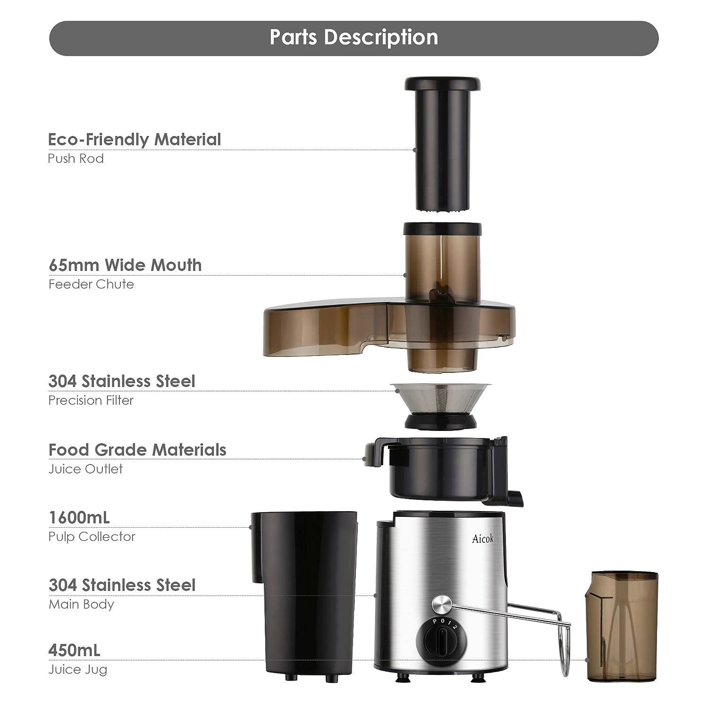 aicok exprimidor Juice Extractor alta velocidad para frutas y verduras doble velocidad centrífugo frutas máquina potente 400 vatios con jarra para zumo y ...