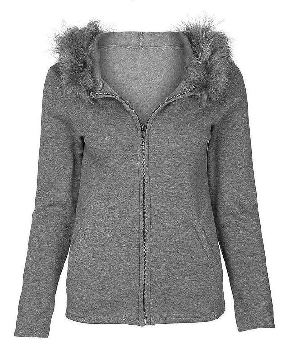 Alion Womens Front Zipper Hooded Outwear Sweatshirt Long-Sleeve Sport Coat