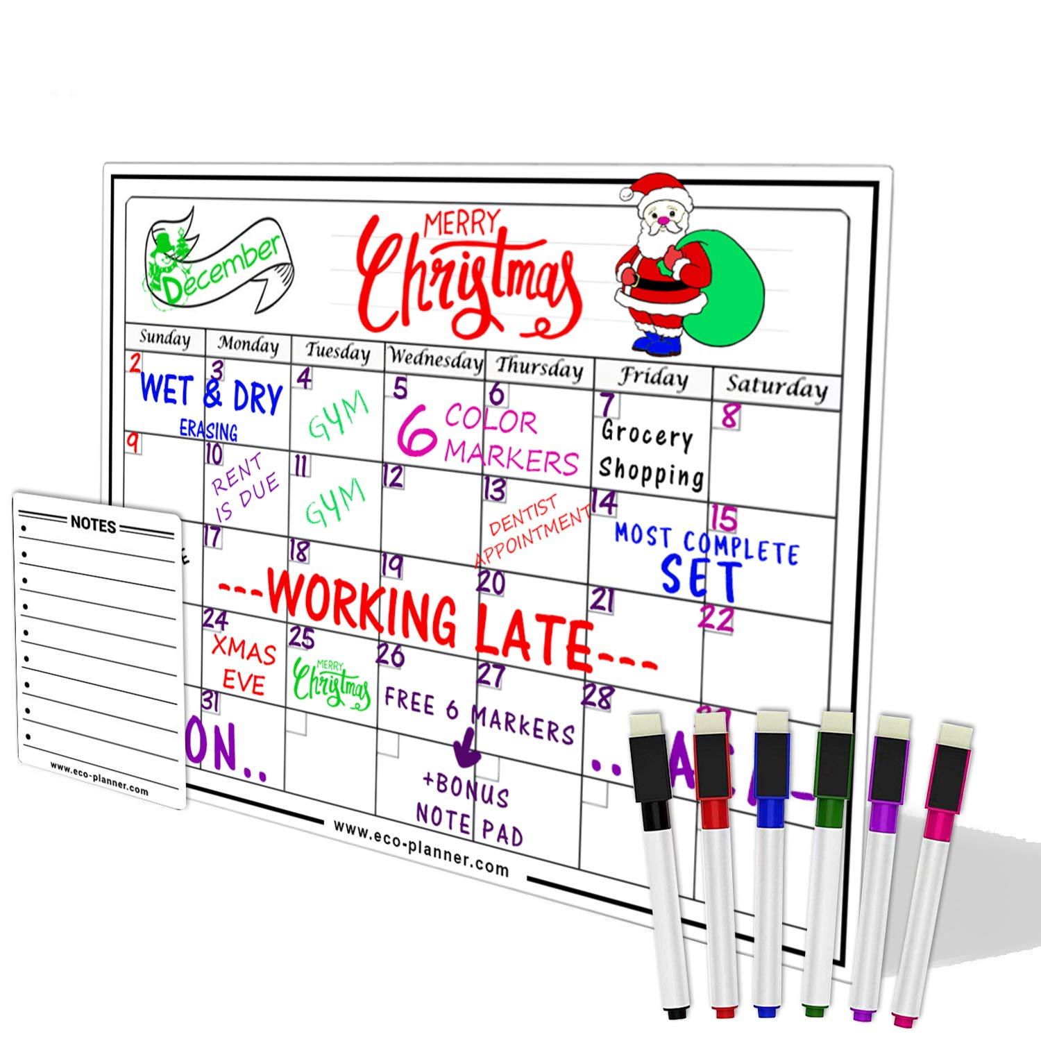 EcoPlanner Monthly Black Magnetic Refrigerator Dry Erase Board Calendar with BONUS Notepad and 4 Magnetic Fluorescent Markers with eraser Included 16X12 Magnetic Board Organizer Chalk Marker Board