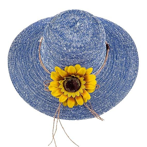 iShine Gorras Mujer Sombrero de Paja con Gran Flores Al Aire Libre ...
