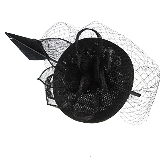 b77664c7ea06e Gemvie Vintage Fascinator Floral Feather Hat Netted Veil Headband Hair Clip  Black at Amazon Women s Clothing store