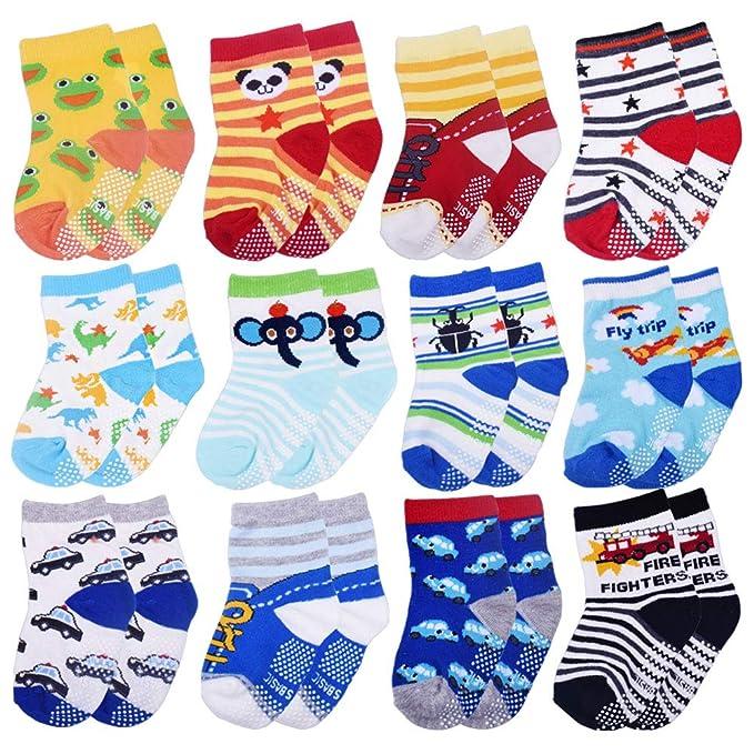 Tomkity 12 Pares de Calcetines Antideslizantes para Bebé Niños 1-3 Años Algodón: Amazon.es: Ropa y accesorios