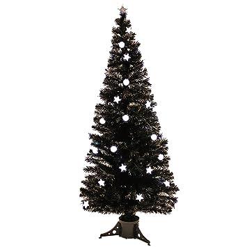 Weihnachtsbaum Schwarz Weiß.Künstlicher Weihnachtsbaum Glasfaseroptik Schwarz Mit 35 Led
