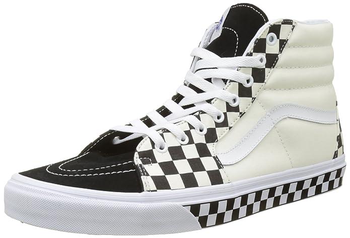 Vans Sk8-hi Schuhe Unisex-Erwachsene Leder u. Textil schwarz weiß kariert mit karierter Sidewall