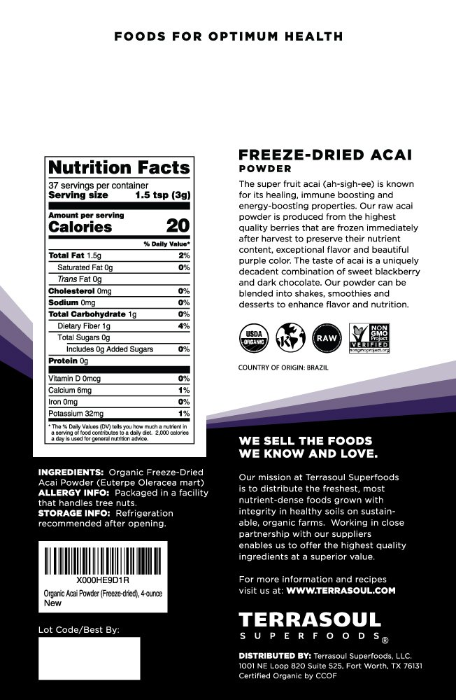 Terrasoul Superfoods Organic Acai Berry Powder, 4 oz - Freeze-Dried | Antioxidants | Omega Fats by Terrasoul Superfoods (Image #2)