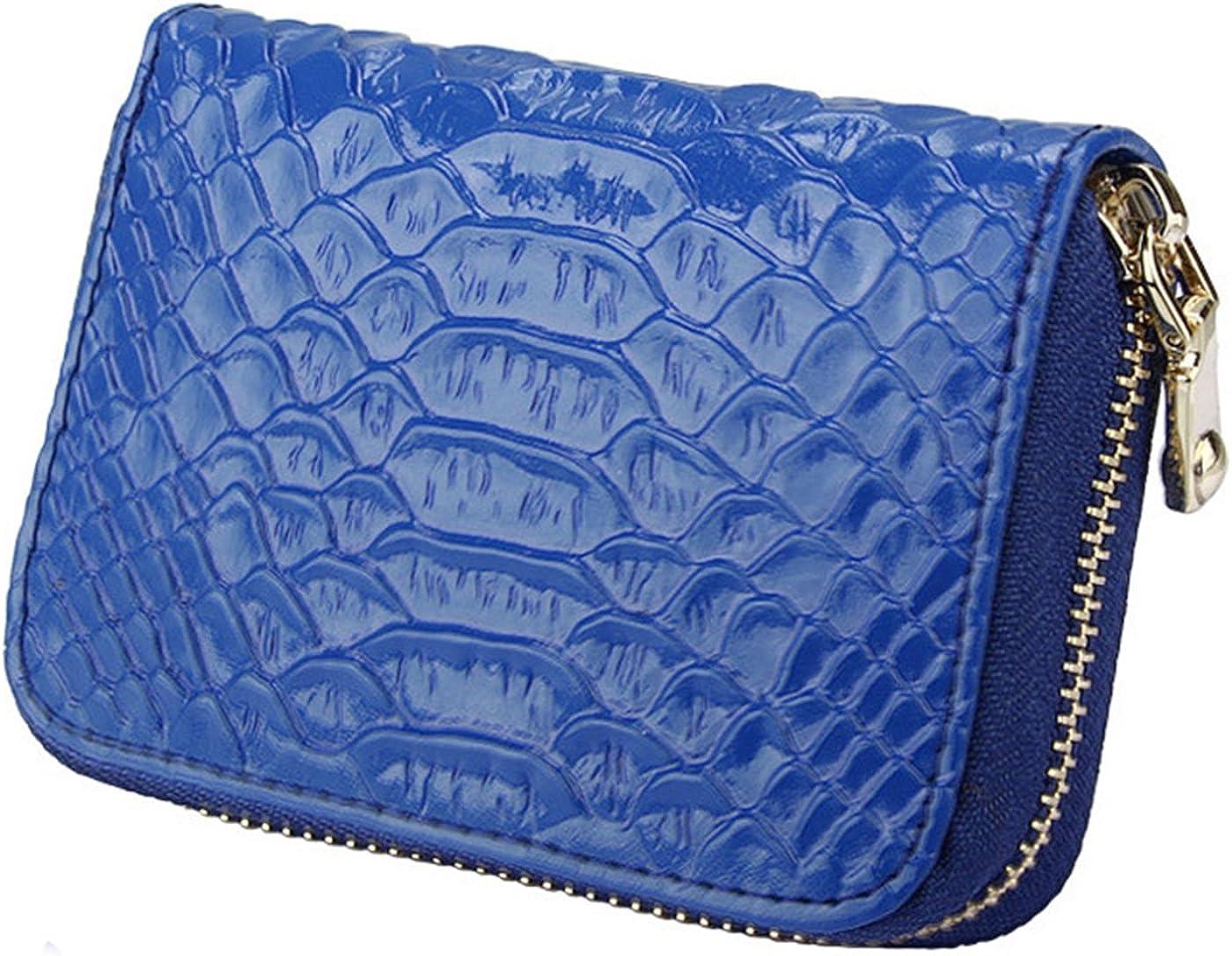 iSuperb Card Wallet RFID Blocking Zipper Genuine Leather Wallet Credit Case Change Bag Cash Wallet for Women Travel