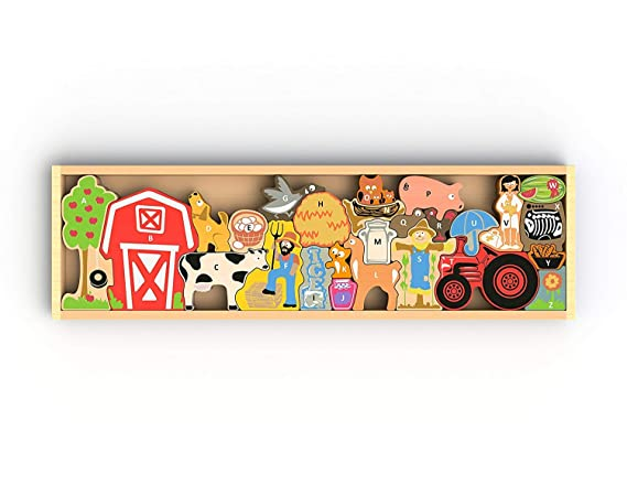 BeginAgain Farm A to Z Puzzle - Toy Farm and Wooden Puzzle + Playset for Kids - ABC Puzzle & Educational Toy for Toddlers