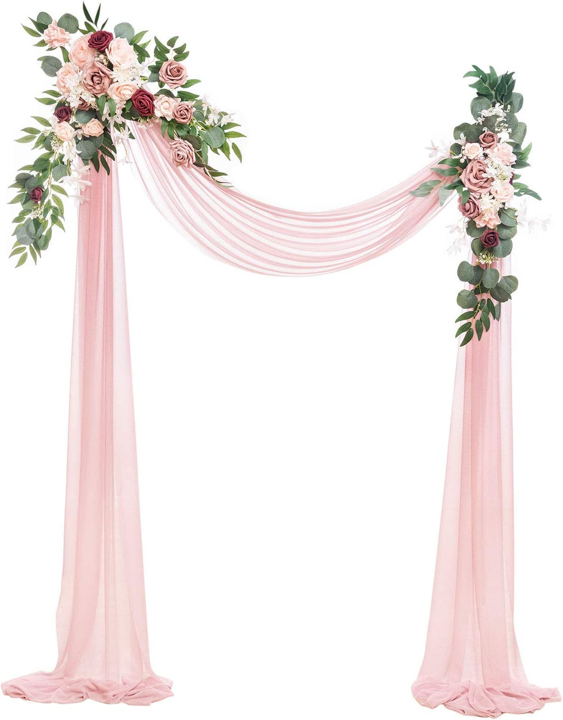 Ling's moment Artificial Wedding Arch Flowers Kit(Pack of 3) - 2pcs Burgundy & Dusty Rose Aobor Floral Arrangement with 1pc Semi-Sheer Swag for Ceremony and Reception Backdrop Decoration