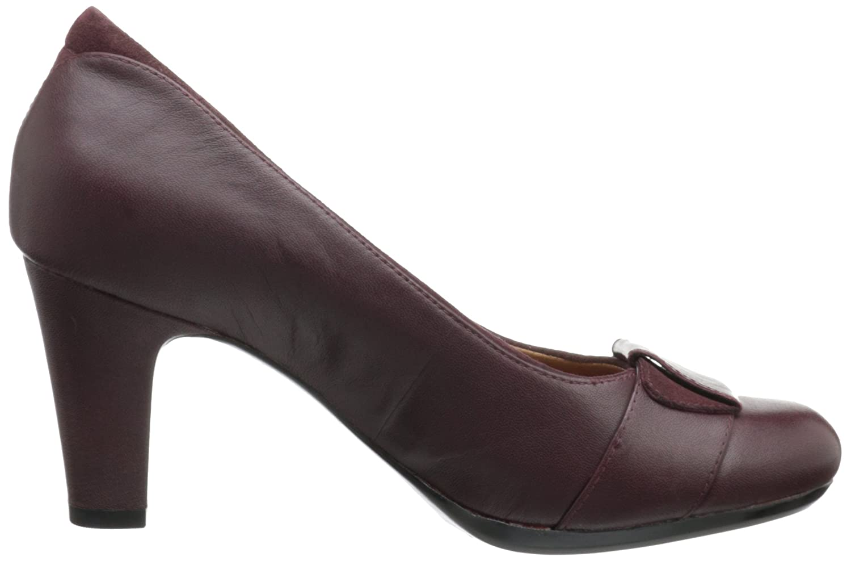 Amazon.com | CLARKS Women's Society Disc, Burgundy Leather, 12 B-Medium |  Pumps