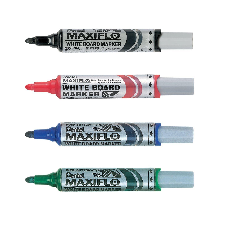 Rouge Pentel Maxiflo Pochette 4 Marqueurs tableau blanc Pointe ogive large Encre Noir Vert Bleu