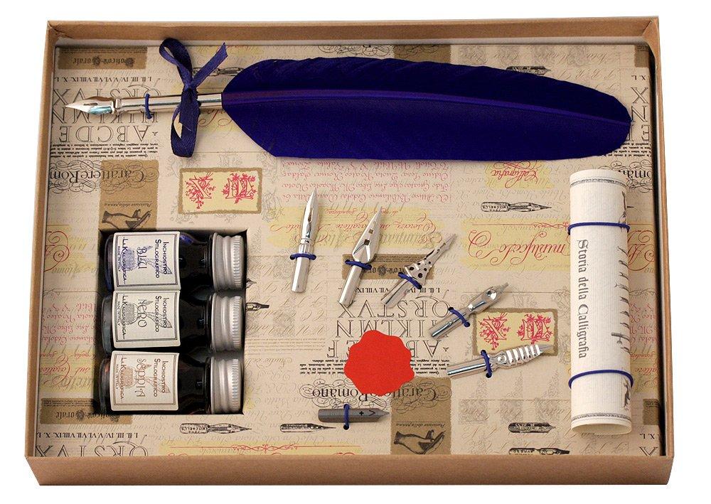 Coles Calligraphy - Set composto da 1 penna piuma, 3 boccette di inchiostro e 6 pennini 531BL
