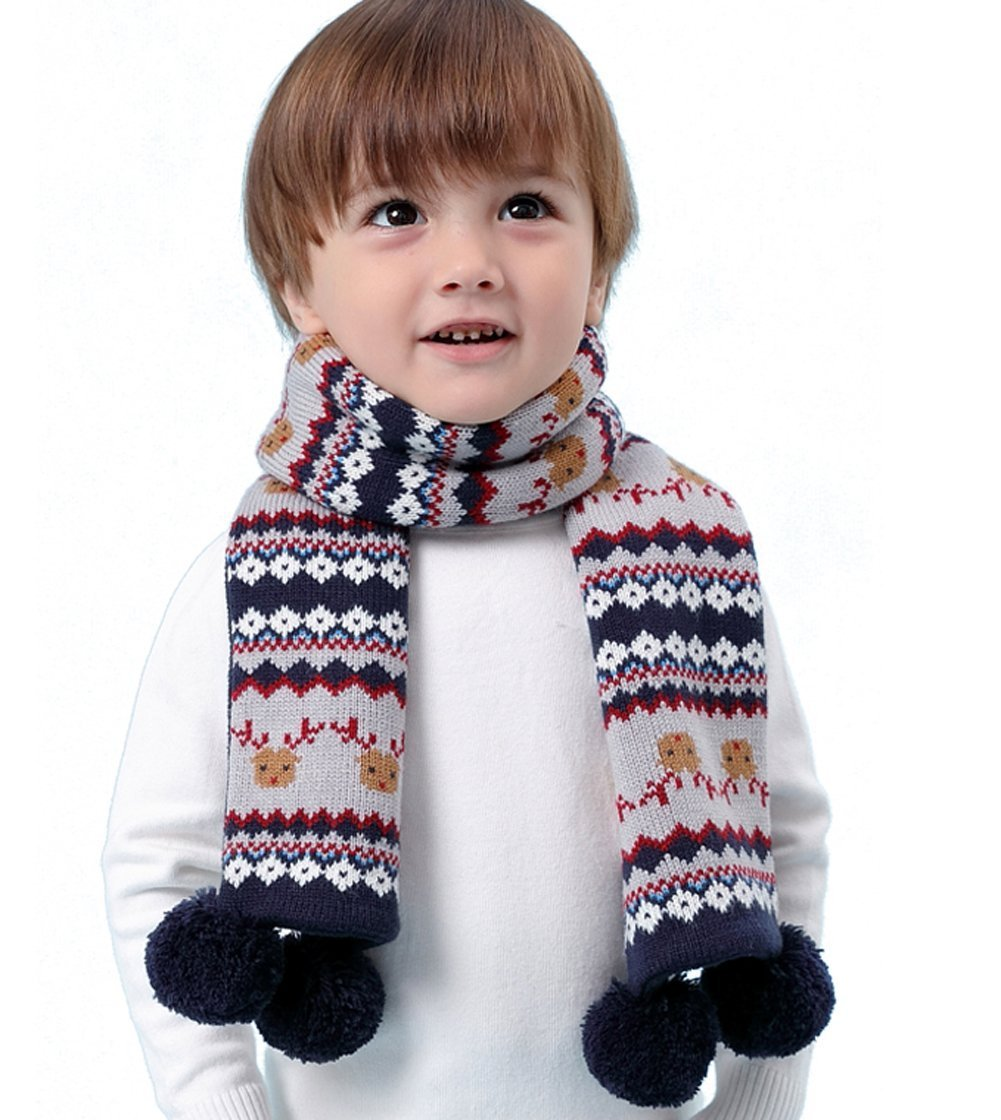 Kids Christmas Reindeer Scarf Winter Fashion Warm Fleece Knit Scarf With Pom Pom