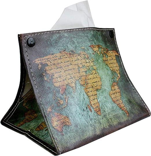 Mapa del Mundo Emartbuy Caja de Pa/ñuelos Plegable Port/átil Impresa en Cuero de PU Cubrir Servilletero de Tejido Rectangular para Dormitorio Ba/ño Cocina Hogar Oficina