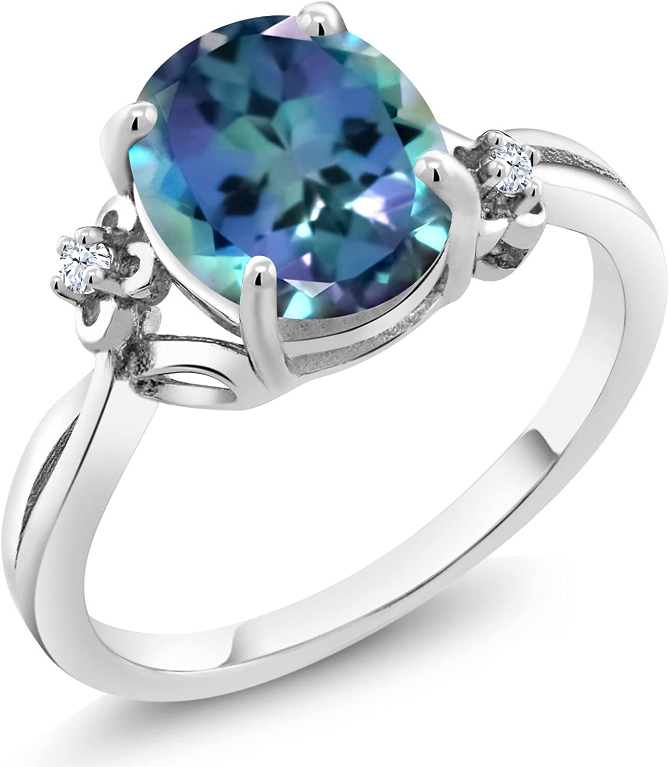 925 Sterling Silver 3.00 MM Round Mystic Topaz Stackable Women Ring